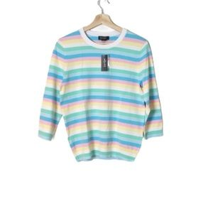 Lord & Taylor Multi Colour striped sweater medium